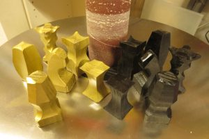 Chess Pieces on the Spindle Sander